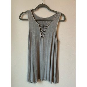 Lace up tank grey American Eagle